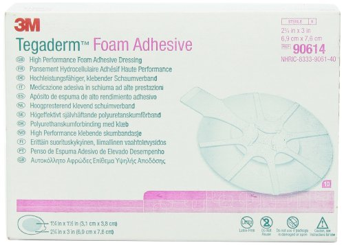 3M 90614 Tegaderm High Performance Foam Adhesive Dressing, Mini Oval, 10 Pads Per Pack (Pack of 1) ()