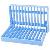 uxcell Plastic Restaurant Kitchen 12 Slots Folding Dish Drying Drainer Plate Rack Organizer Blue