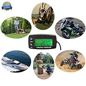 FOUNDOWN Engine Hour Meter Inductive Tachometer Gauge Backlit Digital Resettable for Motorcycle Marine Glider ATV Snow Blower Lawn Mower Jet Ski Pit Bike