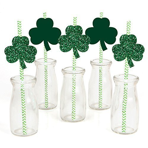 Saint Patty's Day Party Straw Decor with Paper Straws - Set of 24
