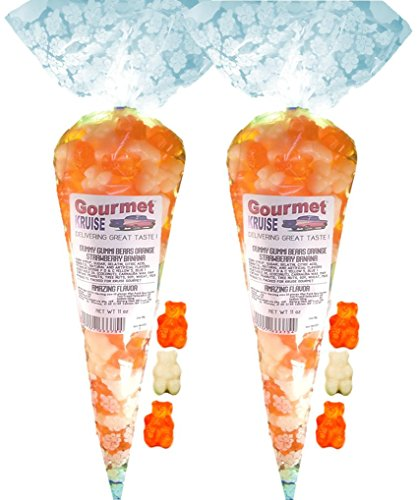 Energy Orange White Strawberry Banana Gummy Gummi Bears (2 Pack) (NET WT 22 OZ) Gourmet Kruise Signature Gift Bags