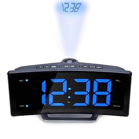 XXLYY Proyector FM Radio Despertador, LED Grande Curva Pantalla ...