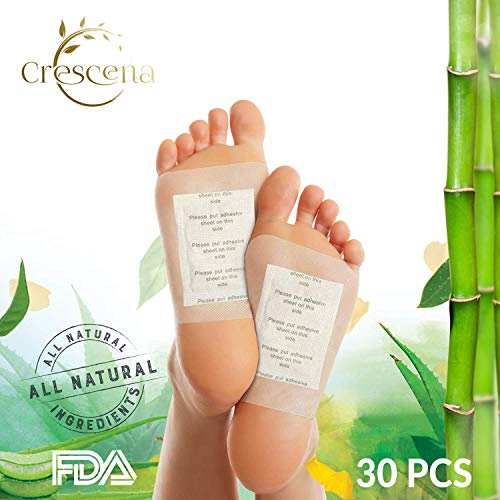 Foot Pads by Crescena I Premium Natural Foot Patches I Pain Relief I Improve Circulation & Cognitive Relaxation - 100% Organic I FDA Certified I 30ct.