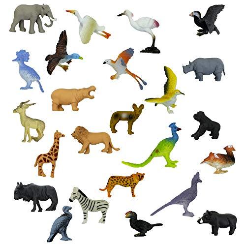 - Entervending 24 Pieces Savanna Safari Wild Animal & Birds Figure Set - Wild of Zoo Animal - Plastic Mini Educational Jungle Animal Playset - Great Idea for Gift & Classroom Rewards