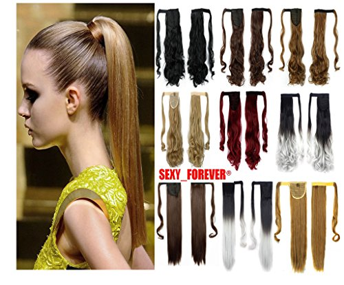 3-5 Days Fast Delivery Wrap Around Synthetic Ponytail Clip in Hair Extensions One Piece Magic Paste Pony Tail Long Wavy Curly Soft Silky for Women Ladies Fashion and Beauty (Sexy Updo)