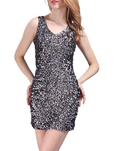 1e67dfd716 PrettyGuide Women s Sexy Deep V Neck Sequin Glitter Bodycon Stretchy Mini  Party Dress - Women Dresses Online