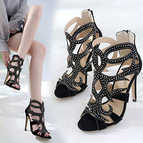 KPHY Mouth 12Cm Diamond Heels Shoes Women'S Fish Thirty Shoes Suede High Five Sexy Black Fish Mouths Sandals rTYxq54r