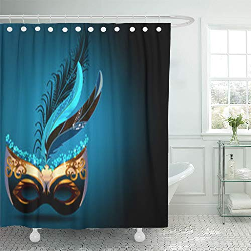 LeeYES Shower Curtains 72 x 72 Inches Carnival Mask Textures Purim Peacock Waterproof Polyester Fabric Bathroom Curtain Bath Sets with Free Hooks -