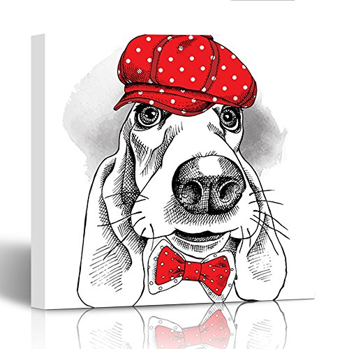 Emvency Painting Wall Art Canvas Print Square 20x20 Inches Tie Portrait of Dog Basset Hound in Red Cap and Tie Illustration Decoration Wooden - Tie Hound