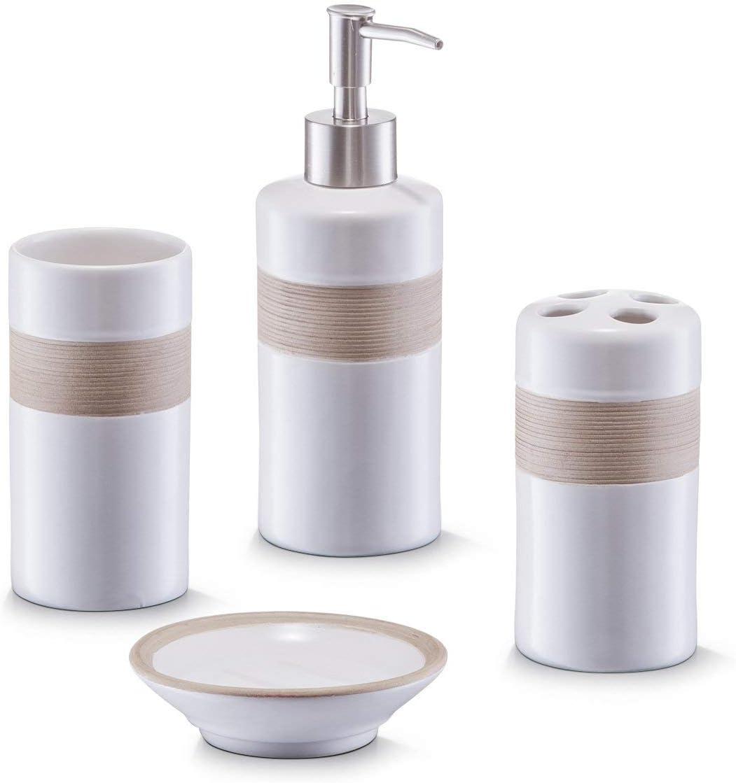 Juego de accesorios para baño, 4 piezas, color beige y marrón