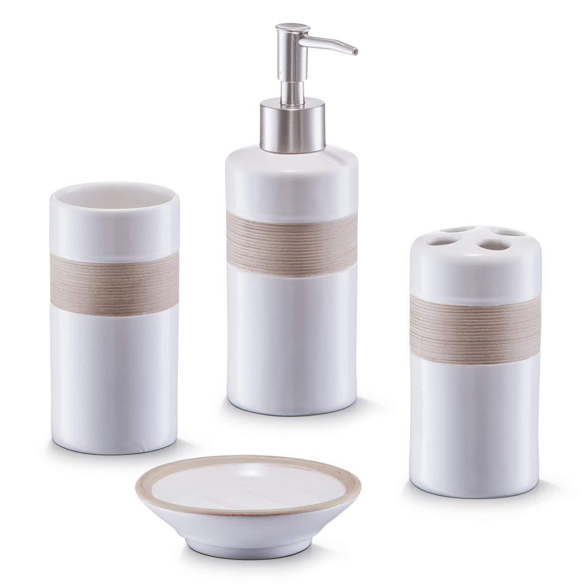 Zeller 18266 Set di Accessori per Bagno, Ceramica, Bianco, 0.1x0.1x0.1 cm, 4 unità 4 unità