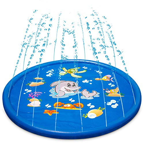 Uiter Sprinkle & Splash Play Mat ,68'' Blue Inflatable Sprinkler Pad, Perfect Summer Outdoor Spray Toys for Children/Boys/Girls/Kids/Dog/Cat and Pets