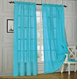 Elegant Comfort® 2 Piece Solid SHEER PANEL with ROD POCKET - Window Curtain 60-inch width X 84-inch Length - Turqouise