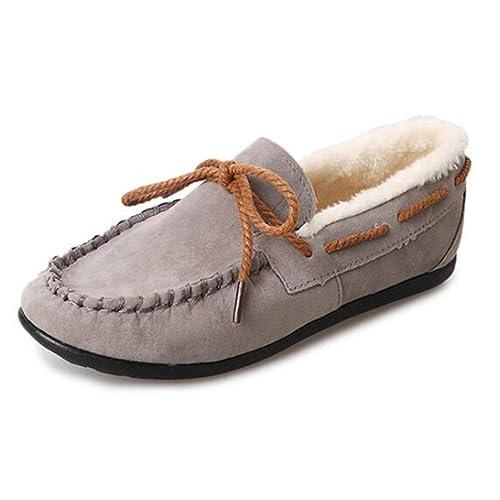 Huatime Gamuza Cuero Mocasines Zapatos - Colegio Ponerse Comodidad Mocasines Ponerse Conducción Ante Mocasín Pisos Botas de Invierno EU 36-39: Amazon.es: ...