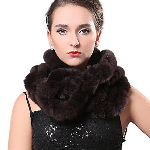 Knitted Fur Scarf (Real Fur Infinity Winter Scarf - Ruffled Rex Rabbit Fur Cowl Snood Scarves Flower Brim FURTALK Original)