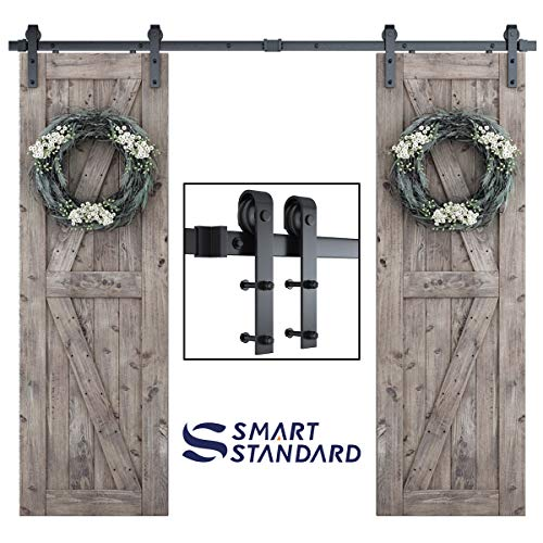 8ft Heavy Duty Double Door Sliding Barn Door Hardware Kit -Smoothly and Quietly -Simple and Easy to Install -Includes Step-by-Step Installation Instruction – Fit 24″ Wide Door Panel (J Shape)