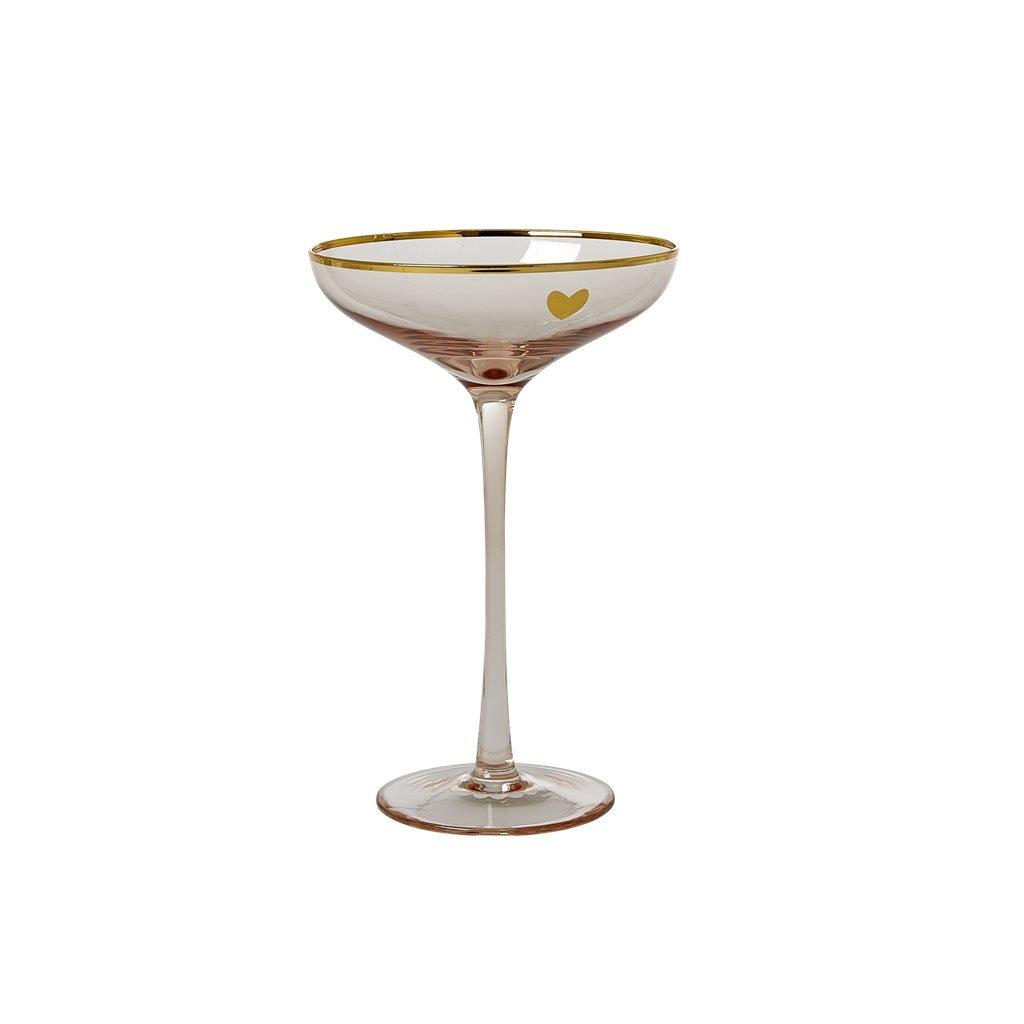Beautiful Glass Champagne Coupe in Soft Pink - Gold Details by Rice DK