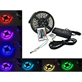 REPHYLLIS 16.4 ft 5M Waterproof DC 12V 5050 RGB LED 24 Key Strip Light Remote IR Controller Flexible Strip Colour Changing Decorative Multifunction LED Strip Kit IP65 for Homes Garden Shops KTV Hotel Bridge