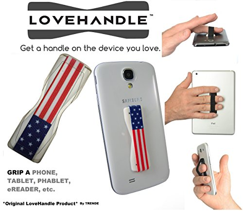 LoveHandle Universal Grip - Compatible with Samsung, and Other Smartphone and Mini Tablet - USA Flag Colored Elastic Strap with White Base