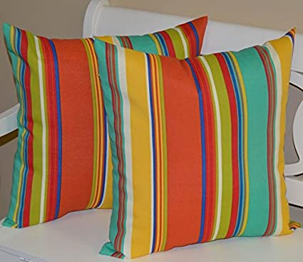 Fabulous Set Of 2 Indoor Outdoor 22 Square Decorative Throw Toss Pillows Coral Green Blue Turquoise Red Yellow Bright Colorful Stripe Creativecarmelina Interior Chair Design Creativecarmelinacom
