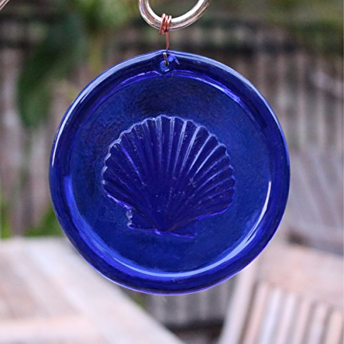 4-Inch Scallop Shell Suncatcher In Cobalt Blue from our Beach Collection - A Stunning Window Ornament And Gift From Mission Glass Works - Pressed from Carved Steel Dies Made in the USA