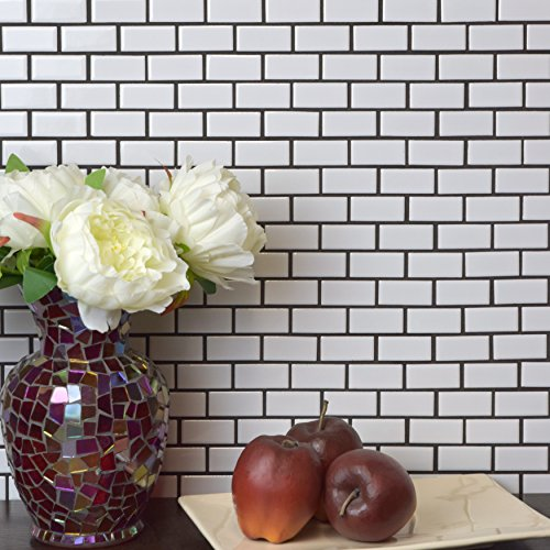 SomerTile FKOVBS11 Marion Subway Porcelain Mosaic Floor and Wall Tile, 11.875'' x 12'', Glossy White by SOMERTILE (Image #7)