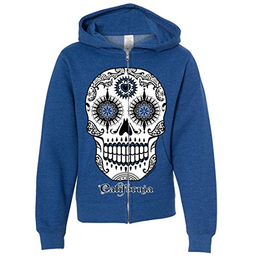 California Republic Sugar Skull Youth Zip-Up Hoodie - Royal Heather (10 Facts About Halloween History)