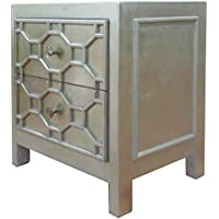 New Pacific Direct 2100004-AC Silvestro Distressed 2 Drawers Side Table, Antique Champagne