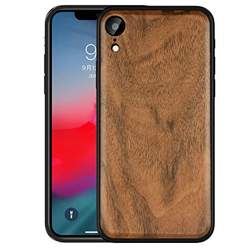 Boogice iPhone XR Wood Case - Real Walnut,Lightweight Dual Layer Unique Protective Cover with Natural Wood and Hybrid Rubber for iPhone XR(Walnut)