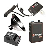 Norman A200C-R 200w/s Portable Battery Kit with LH2K-R UV Flash Head with Pocket Wizard Radio Slave, 5'' Reflector, Power Pack, Battery, Charger, Strap