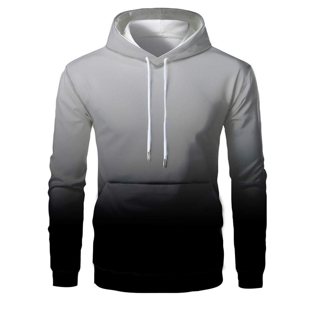 Zylione Mens Christmas Sweater Sweatshirts Long Sleeve Hoodie 3D Print Pullover with Drawstring Christmas Hooded Jumper