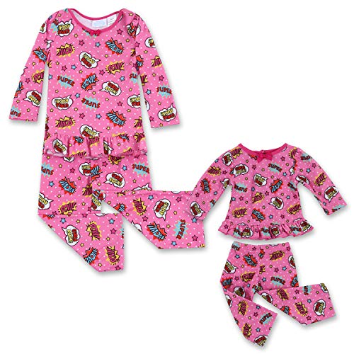 Toddler Girl Girls Rock Dream with Me Matching Doll Pajamas 5