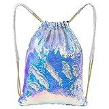 Play Tailor Mermaid drawstring Bag, Sequin Bag Reversible Sequin Backpack Sling Bag Dance bag