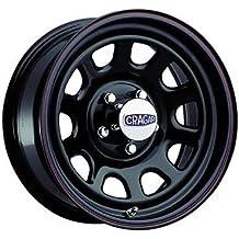 Cragar 3425860: Wheel, D Window, Steel, Black, 15 in. x 8 in., 6 x 5.5 in. Bolt Circle, 4 in. Backspace, Each