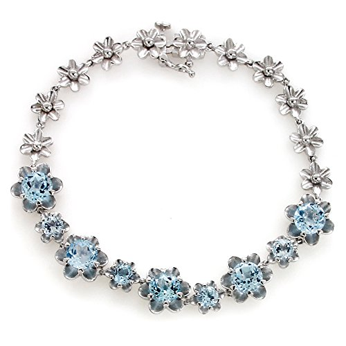 UP LINK Women's Topaz 925 Sterling Silver Rhodium Plated Birthstone Bracelets Light Blue by UP LINK