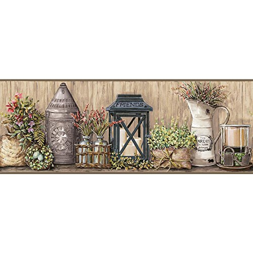 - York Wallcoverings Country Keepsakes Garden Border Removable Wallpaper, Taupe, Grey, Black, Green, Aqua, Purple, Orange