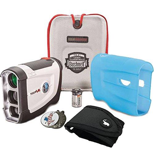 Bushnell BUNDLE Tour V4 Patriot Pack Golf Laser Rangefinder + 1 Magnetic Golf Rangefinder Cart Mount (Black) + 1 Custom Ball Marker Clip Set (American Eagle)
