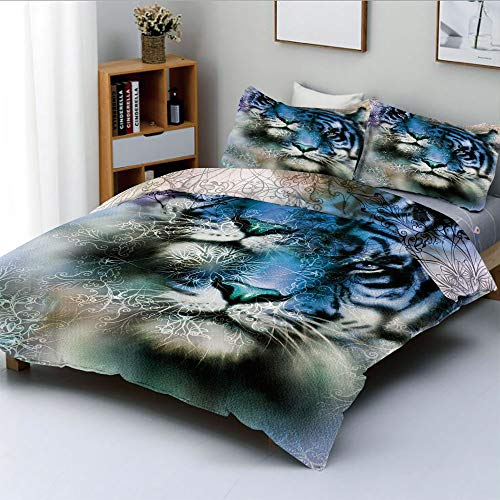 Duplex Print Duvet Cover Set King Size,Two Tiger Safari Cat African Wild Furious Life Big Animals Art PrintDecorative 3 Piece Bedding Set with 2 Pillow Sham,Blue Black and White,Best Gift For Kids & A