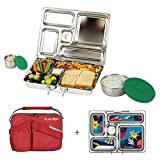 PlanetBox ROVER Eco-Friendly Stainless Steel Bento Lunch Box with 5 Compartments for Adults and Kids- Red Carry Bag with Rocket Magnets