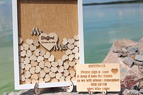 ACOVE Personalized Wedding Guest Book Drop Top Box, Heart Wooden Guest Book 40x50 CM With 150 Pcs Wooden Hearts by ACOVE