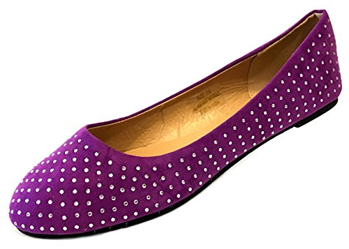 Schoenen8teen Schoenen 18 Dames Faux Suede Strass Ballerinas Ballerinas Schoenen 4021 Paars