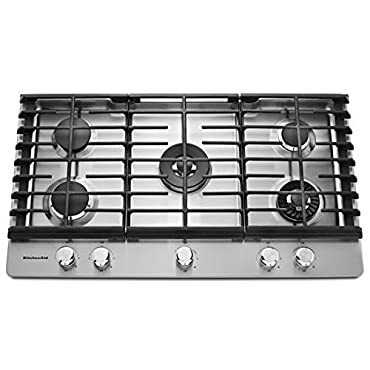 KitchenAid KCGS956ESS 36'' 5-Burner Gas Cooktop, Stainless Steel