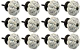 Nicola Spring Ceramic Cupboard Drawer Knobs - Vintage Flower Design - Grey / Blue - Pack of 12