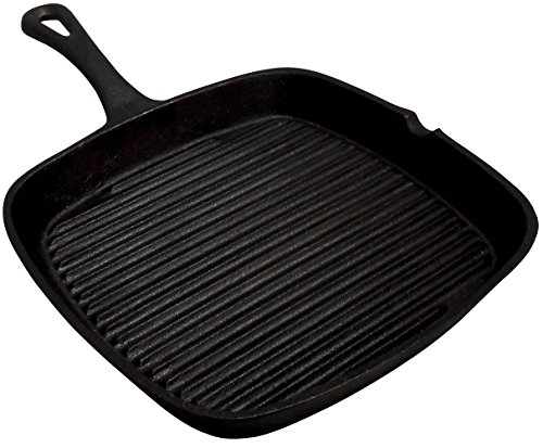 King Kooker CISQS9S Pre-Seasoned Cast Iron Square Skillet, 9-Inch
