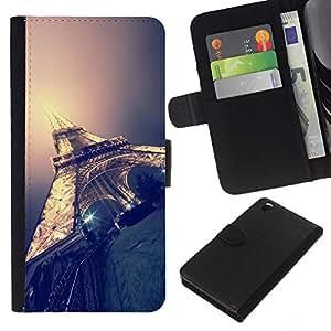 KLONGSHOP // Tirón de la caja Cartera de cuero con ranuras para tarjetas - Torre Eifel de París luz de la noche de la ciudad de Francia - HTC DESIRE 816 //
