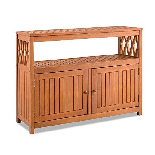 Home Improvements Natural Finish Tropical Hard Wood Outdoor Patio Buffet Storage Cabinet Console Patio Bar Cabinet Outdoor Living Furniture Buffet Finish