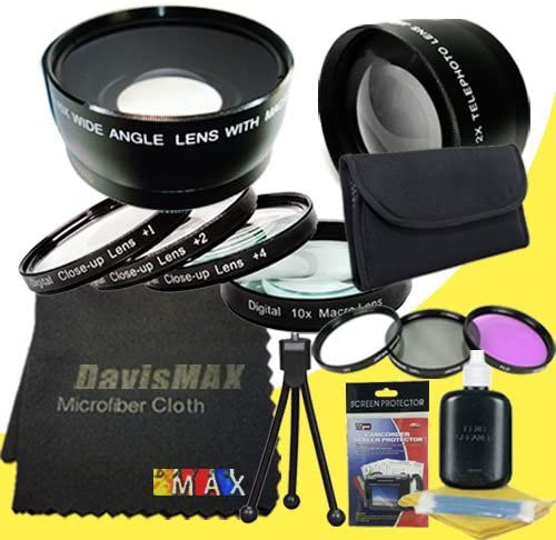 DavisMAX Fibercloth Deluxe Lens Bundle Wide Angle 3 Piece Filter Kit for Sony Alpha NEX-3N with Sony SEL 55-210mm f//4.5-6.3 Telephoto Lens 2x Telephoto Lenses 49mm Macro Close Up Kit