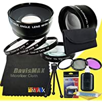 72mm Macro Close Up Kit + Wide Angle + 2x Telephoto Lenses + 3 Piece Filter Kit for Canon EOS 70D with Canon 28-135mm Lens + DavisMAX Fibercloth Deluxe Lens Bundle