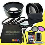 55mm Macro Close Up Kit + Wide Angle + 2x Telephoto Lenses + 3 Piece Filter Kit for Sony Alpha SLT-A58 with Sony 18-55mm DT Lens + DavisMAX Fibercloth Deluxe Lens Bundle