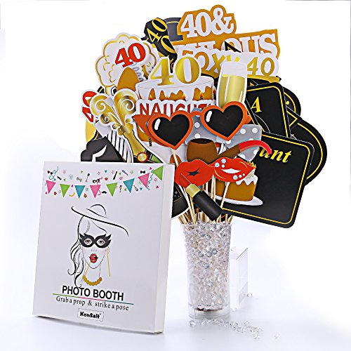 Konsait 40th Birthday Party Photo Booth Props 53Pcs For Her Him Funny 40 DIY